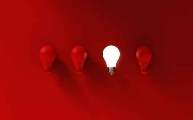 Light bulbs on red