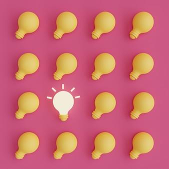 Лампочки, одна из которых светится на розовом фоне