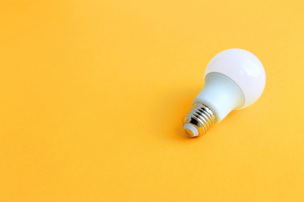 Light bulbs on a yellow background