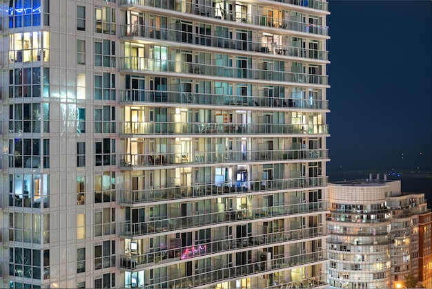 Light burns in a window of the multitude in a multi-storey residential building