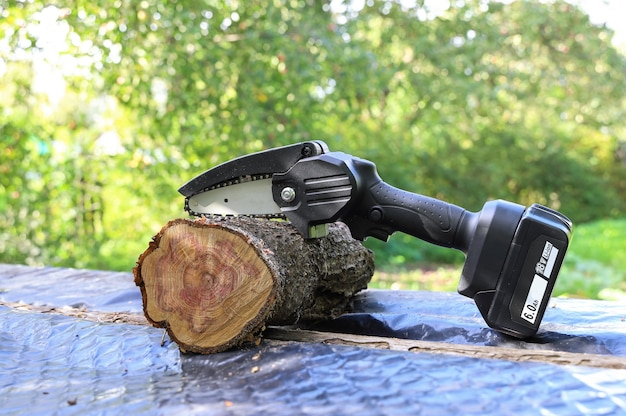 Light chain saw with battery is located next to cut trunk of apple tree