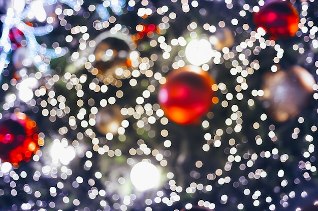 Light on christmas tree with bokeh for christmas and new year day