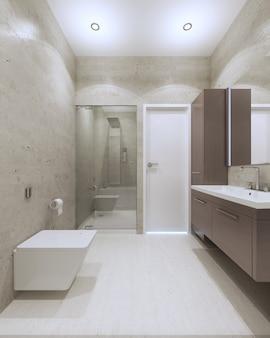 Светлый современный интерьер ванной комнаты со стеклянной дверью-душем в роскошных апартаментах