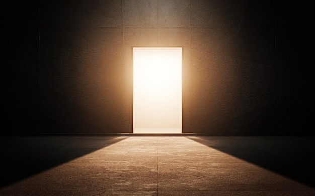 Светлая дверь в темной комнате