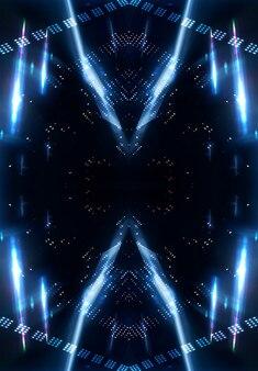 光の効果、ぼやけた背景、コンクリートの床のネオン反射。暗い抽象的な背景
