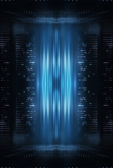 光の効果、ネオンの反射、暗い抽象的な背景。