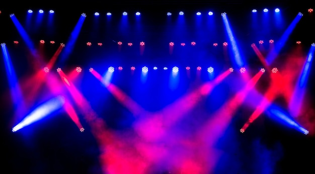 Light equipment on stage for concerts and discos.