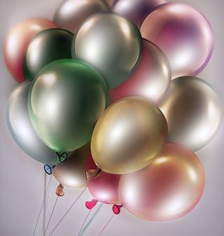 Light festive background with bright colorful balloons d image