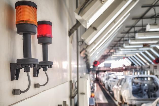 생산 실 천장 아래의 가벼운 화재 경보 시스템