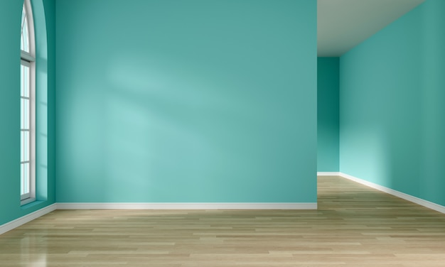 Light from window and empty mint green room interior