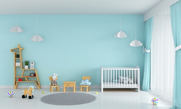 Light green child bedroom interior