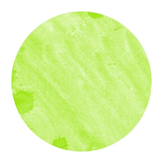 Light green hand drawn watercolor circular frame background texture with stains