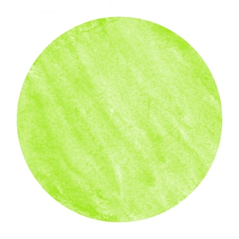 Light green hand drawn watercolor circular frame  texture with stains