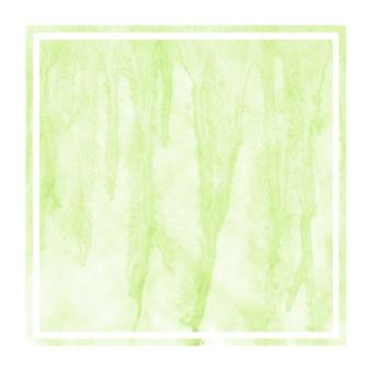 Light green hand drawn watercolor in rectangular frame