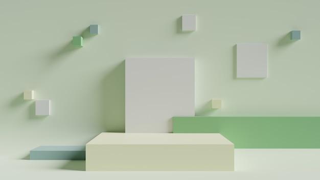 Светло-зеленый минимальный геометрический фон 3d-рендеринга