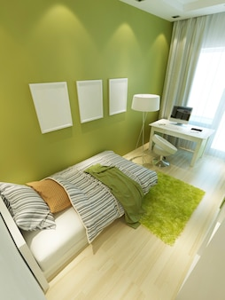 Light green nursery in contemporary style with a bed and a desk in white and light green shaggy carpet. 3d render.