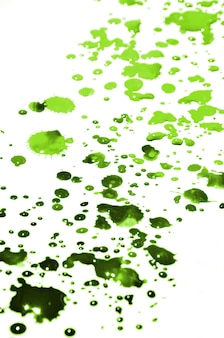 Light green paint drops on white paper