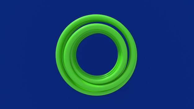 Светло-зеленая спираль. вид сверху. синий фон. абстрактная иллюстрация