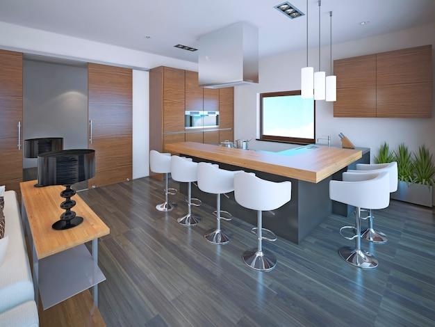 Светлый l-образный дизайн кухни в сочетании с коричневой мебелью зебрано для современной кухни.