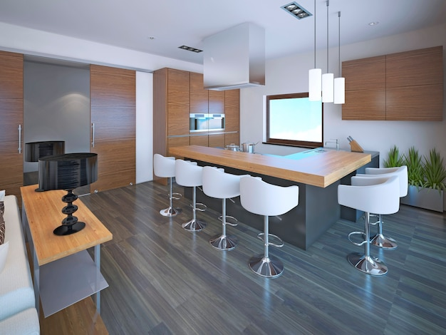 Light l-shaped kitchen design in with set of brown zebrano furniture for modern kitchen.