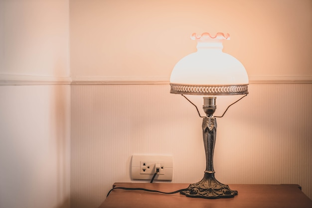 Light lamp decoration in bedroom interior