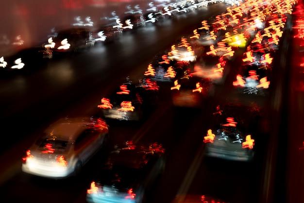 Light lines of car headlights.