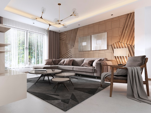 Светлая гостиная в светлом классическом стиле с элементами ар-деко, с обеденным столом у окна. 3d рендеринг