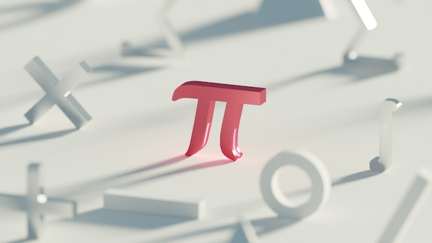 Легкий математический символ, сфокусированный на красном пи