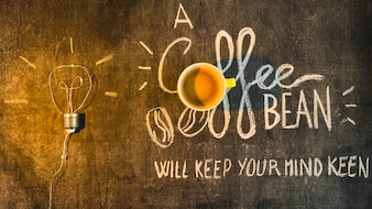 Light over the coffee cup with written text on chalkboard