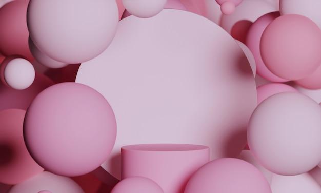 밝은 분홍색 3d 모의 연단에는 분말 분홍색으로 날아다니는 구체가 있습니다.