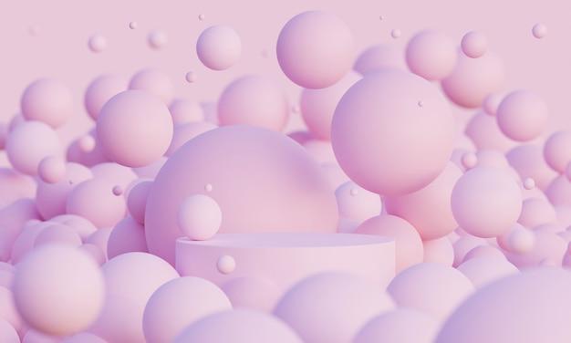 ライトピンクの3dは、パウダーピンクの球体またはボールを飛ばして表彰台をモックアップします。製品や化粧品のプレゼンテーションのための明るくスタイリッシュな現代的な抽象的な3d背景。幾何学的形状でシーンをレンダリングします。