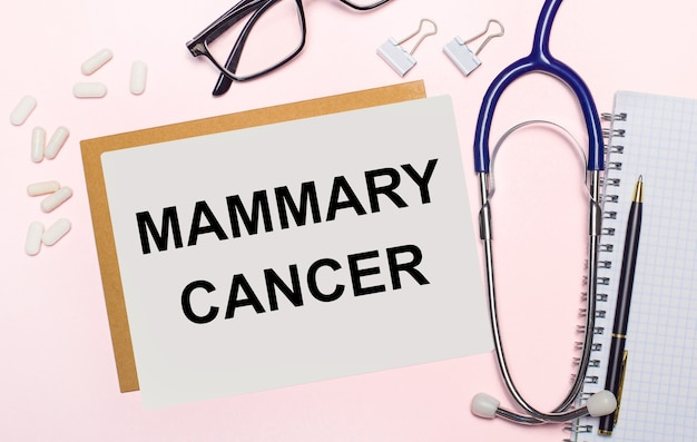 On a light pink background, a stethoscope, white pills and clips for paper, glasses in black frames and a sheet of paper with the text mammary cancer. view from above. medical concept