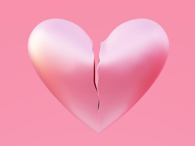 Светло-розовое разбитое сердце, изолированное на розовом
