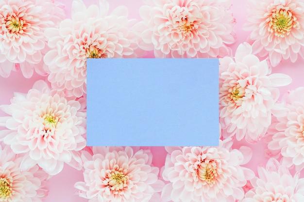 淡いピンクの菊の花と薄紫色のステッカー。