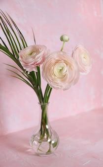 분홍색 배경에 유리 꽃병에 라이트 핑크 라와 몬스 테라 잎. 전면보기. 세로 사진.