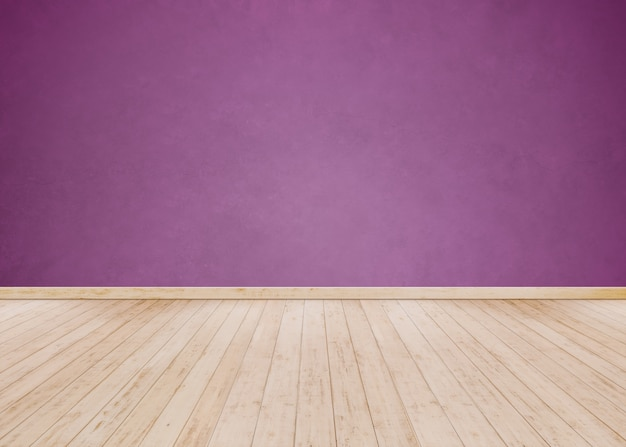 Light purple cement wall with wooden floor