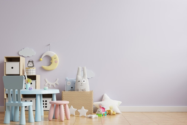 Light purple color wall in the children's room on the wooden floor.3d rendering