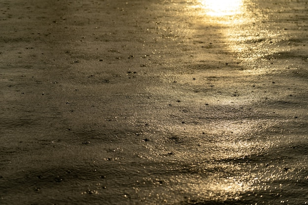 Light rain drops on water surface during sunset.