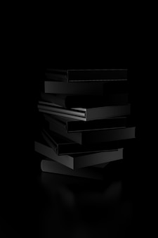 Light and shadow of books stack in the darkness. 3d rendering.