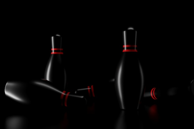Light and shadow of bowling pins in the darkness. 3d rendering.