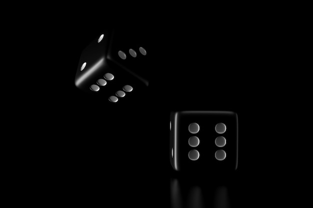 Light and shadow of dice in the darkness