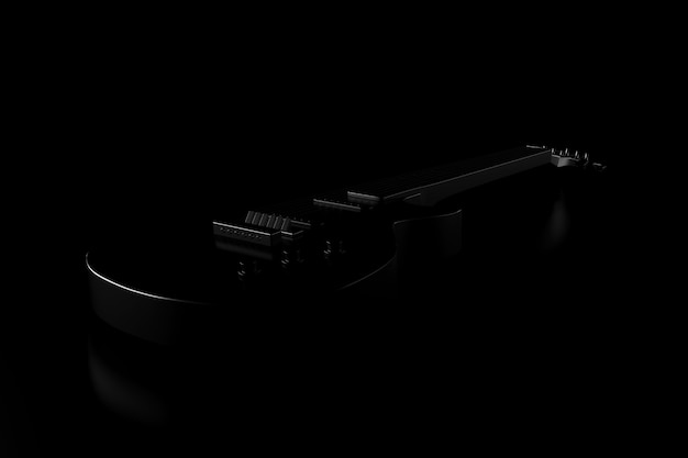 Light and shadow of guitar in the darkness. 3d rendering.