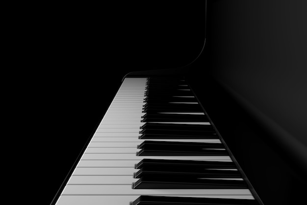 Light and shadow of piano in the darkness