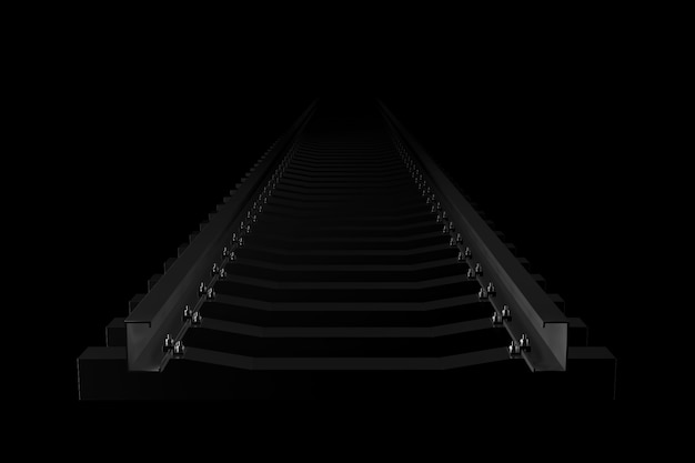 Light and shadow of railroad in the darkness. 3d rendering.