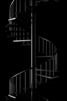 Light and shadow of spiral staircase in the darkness