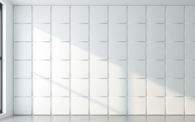 Light and shadow of window frame with 3d wall panel. 3d rendering