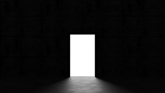 暗い部屋の開いたドアから光が輝く