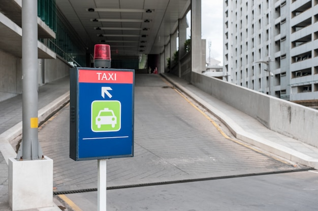 Light signboard taxi a only way to parked
