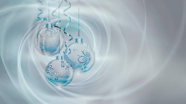 Светло-серебристый синий фон на новый год с елочными шарами