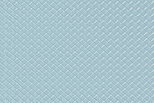 Light steel blue leather background with imitation weave texture. glossy artificial leather structure.